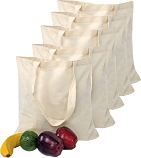 Smart Green Canvas Bag 5 pack Durable Reusable Washable Grocery Tote Bag for Crafting Decorating