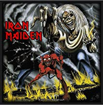 Iron Maiden Patch Number Of The Beast Official Black Woven (10Cm X 10Cm) Size 10 cm x 10 cm