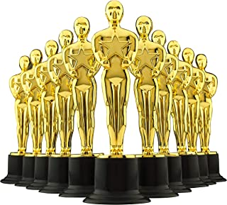 "6"" Gold Award Trophies - Pack of 12 Bulk Golden Statues, Oscar Party Award Trophy, Party Decorations and Appreciation Gifts by Bedwina"