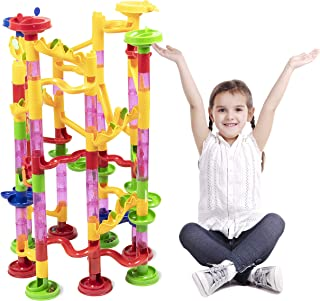 Super Marble Run Set by BloxBerry - Build and Learn Colorful Maze for Kids and Family Fun - Glass Marbles - Play Independent or with Friends. - Unlocks Creativity - Challenging Playset