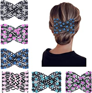 6 Pcs Magic Hair Combs, Youthful Vintage Stretch Beaded Hair Combs Elastic Pearls Hair Clips Bead Hairpins Double Slides H...