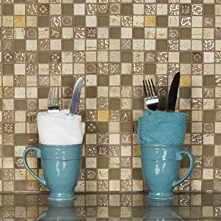 Glass Tile and Stone Travertine with Resin Kitchen Backsplash | Bathroom Wall Mosaic