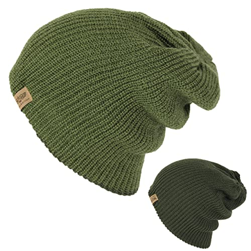 46fb1731ab3 Men s Basic Reversible Slouch Beanie- Long Hipster Oversized Ribbed Knit  Winter Skull Hat