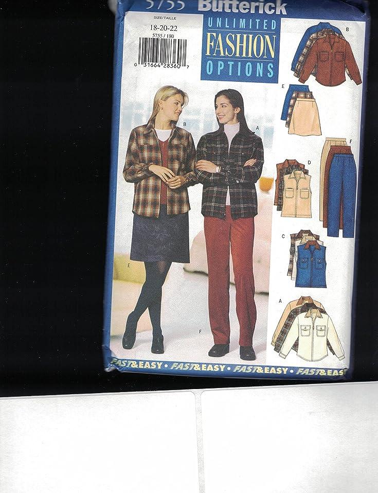 New Uncut Butterick Unlimited Fashion Options sz 18-20 Shirt, Vest, Skirt and Pants Pattern 5755