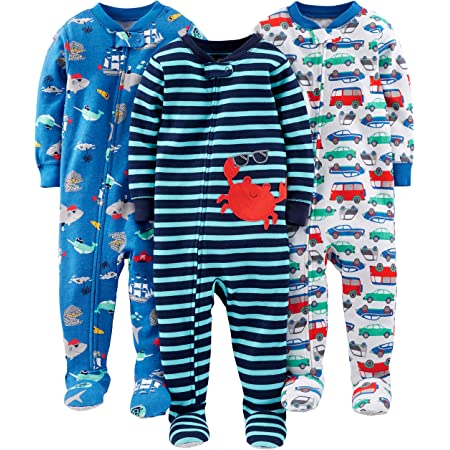 Simple Joys by Carters Baby und Kleinkind Jungen Schlafanzug mit Fu/ß Baumwolle 3er-Pack