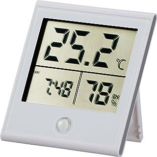 OHM 時計付温湿度計 白TEM210-W TEM-210-W