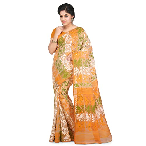 ac2ea867c5 Wooden Tant Multicolored Art Silk Dhakai Jamdani Handloom Women Saree With  Blouse Peice