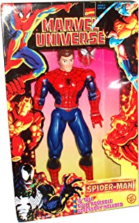 Marvel Comics Year 1997 Marvel Universe Series 10 Inch Tall Fully Poseable Action Figure : SPIDER-MAN with Removable Mask