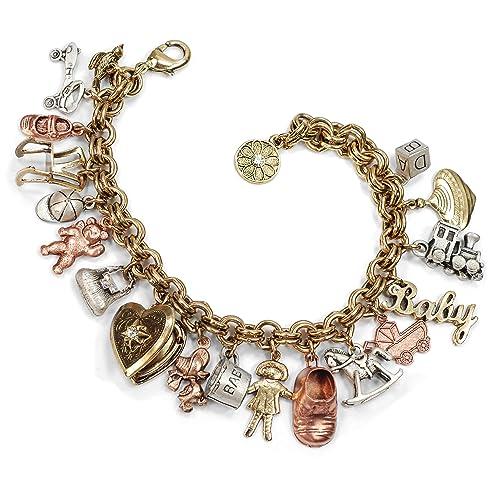 Mother s Memories Baby Childhood Vintage Charm Bracelet - Gold e3c99663afd