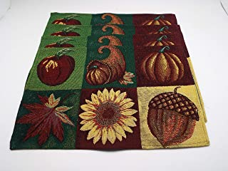 Bristola Home Designs Fall Harvest Theme Tapestry Table Placemats - Set of 4-13 x 19 inches