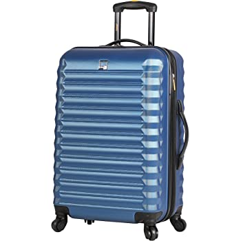 Lucas Treadlight Checked Luggage Collection - 28 Inch Scratch Resistant (ABS + PC) Hard Case Bag - Ultra Lightweight Expandable Large Suitcase With Rolling 4-Spinner Wheels (28in, Steel Blue)