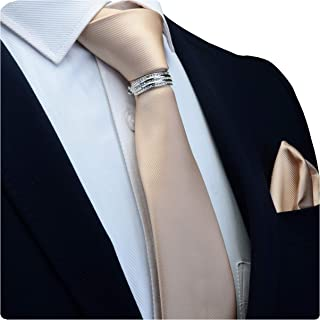 """GUSLESON Brand New 3.15""""(8cm)Solid Color Necktie, Pocket Square and Tie Collar Clasp Set For Men + Gift Box"""
