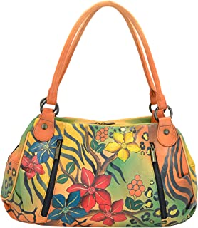 Hand Painted Ruched Large Satchel