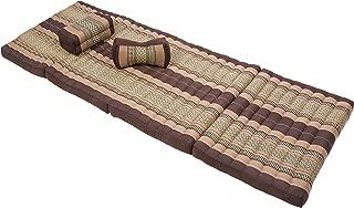 Thai Massage Set: Foldable Mat + Pillow + Neckcushion, Earthtones (All Filled with 100% Kapok)