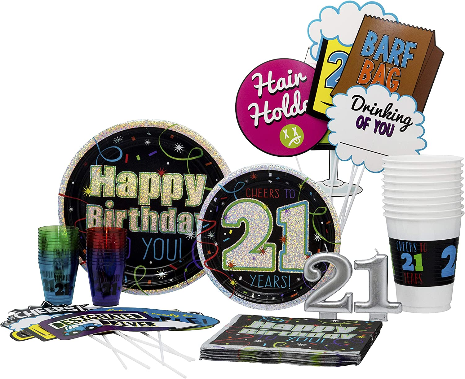 21st Birthday Pack  Disposable Paper Plates, Shot Glasses, Napkins, Photo Props, Candles and Cups Set for 15 (With free extras)