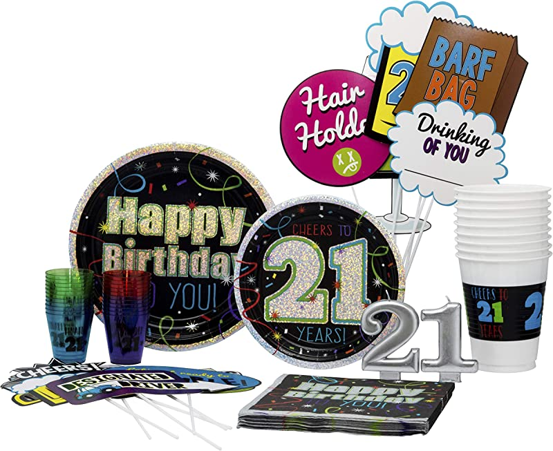 21st Birthday Pack Disposable Paper Plates Shot Glasses Napkins Photo Props Candles And Cups Set For 15 With Free Extras