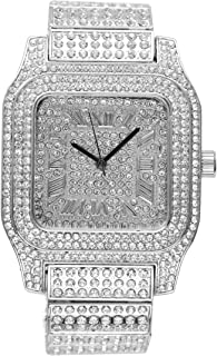 Bling-ed Out Biggie Square Iced Silver Hip Hop Watch You Will Hypnotize in a Flashy Way - 0513Sq Silver