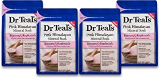 Dr Teal's Epsom Salt Soaking Solution, Restore & Replenish, Pink Himalayan Mineral Soak, 4 Count - 3lb Bags, 12lbs Total