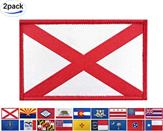 JBCD 2 Pack Alabama Flag Woven Patch States Flags Patches Pride Clothes Moral Backside Tactical Patches Hook and Loop Attach for Military Uniform Tactical Bag Jacket Jeans Team Backpack Hat