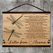 Zcocos Dragonfly Canvas Poster When Tomorrow Starts Without me and I'm not here to See i;m Right There in Your Heart Letter from Heaven