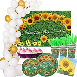 217 PCS Sunflower Party Decorations Tableware Kit, Sunflower Paper Plates Cups Napkins Cutlery Cupcake Toppers Backdrop Ba...