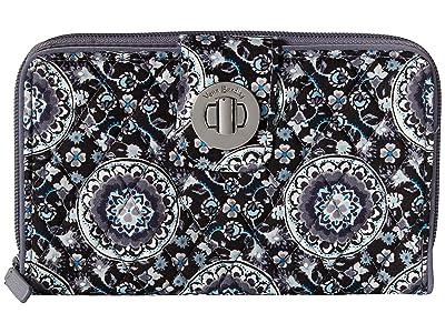 Vera Bradley Rfid Turnlock Wallet (Charcoal Medallion) Wallet Handbags