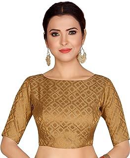 STUDIO Shringaar Women's Brocade Stitched Elbow Length Sleeves Saree Blouse