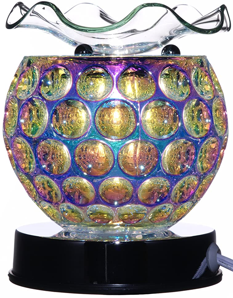 TVaromatics Iridescent Dimpled Carnival Glass Electric Aroma Lamp Oil and Wax Tart Warmer with Touch Dimmer - EAL872724