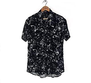 Camisa de Botão Floral Preto e Branco Slim