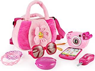 SainSmart Jr. Toddler Purse My First Purse with Pretend Play Set for Princess 9 PCS