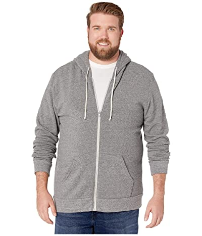 Alternative Big Tall Rocky Eco Fleece Zip Hoodie (Eco Grey) Men