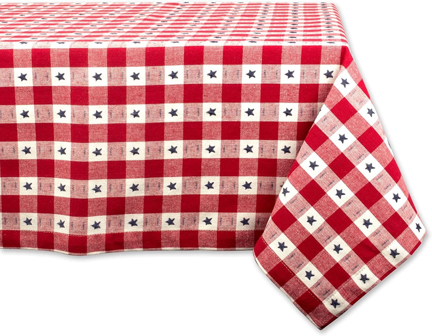 DII Rectangular Cotton Tablecloth for Independence Day, July 4th Party, Summer BBQ and Outdoor Picnics - 60x120 , Red White and bluee Star Check