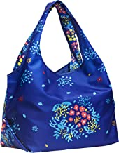 Blueberry Pet Joyful Floral Print Lightweight Eco-Friendly Reusable Shopping Bag, Navy Blue, Washable, Pet Parent Must-Have Durable Foldable Grocery Tote Bag and Carryall