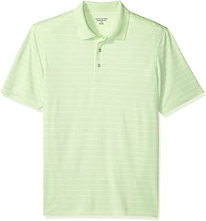 Amazon Essentials Men's Regular-Fit Quick-Dry Stripe Golf Polo Shirt, Lime Green, Small