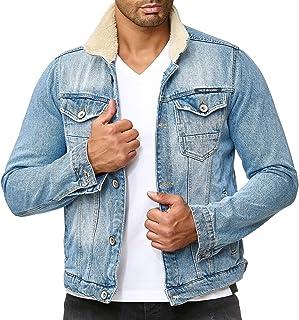 Red Bridge Men's Denim Jeans Jacket Cotton Casual Sherpa Parka Multi Pockets Trucker Jackets