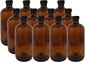 12 Pack 16 Ounce Boston Round Glass Bottles with cap (Amber)