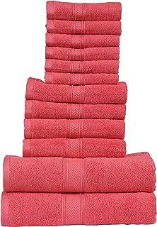 HILLFAIR 12 Piece- 600 GSM Cotton Bath Towels Set - Hotel Spa Towels Set- 2 Bath Towels, 4 Hand Towels, 6 Washcloths- Absorbent Super Soft Cotton Towels Set- Coral