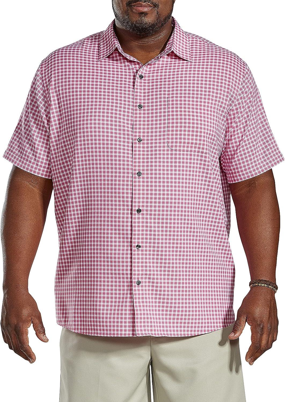 Harbor Bay by DXL Big and Tall Check Microfiber Sport Shirt, Pink