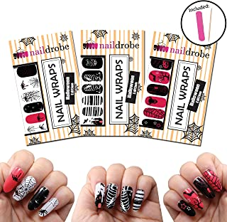 Naildrobe Halloween Nail Wrap Set (3 Pack) w/Bonus File and Orange Wood Stick