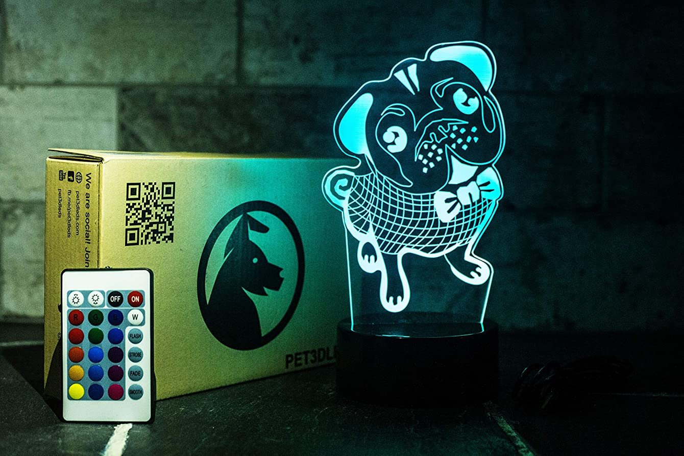 Pet3dleds | Pug 3D Illusion Decorative Nightlight with Remote Control | Safe for Kids | Cool Soft Light | Neat Gift Box | Pug Easter Valentines Gift | Pug Theme | Pug Accessories | Dad Birthday Gift
