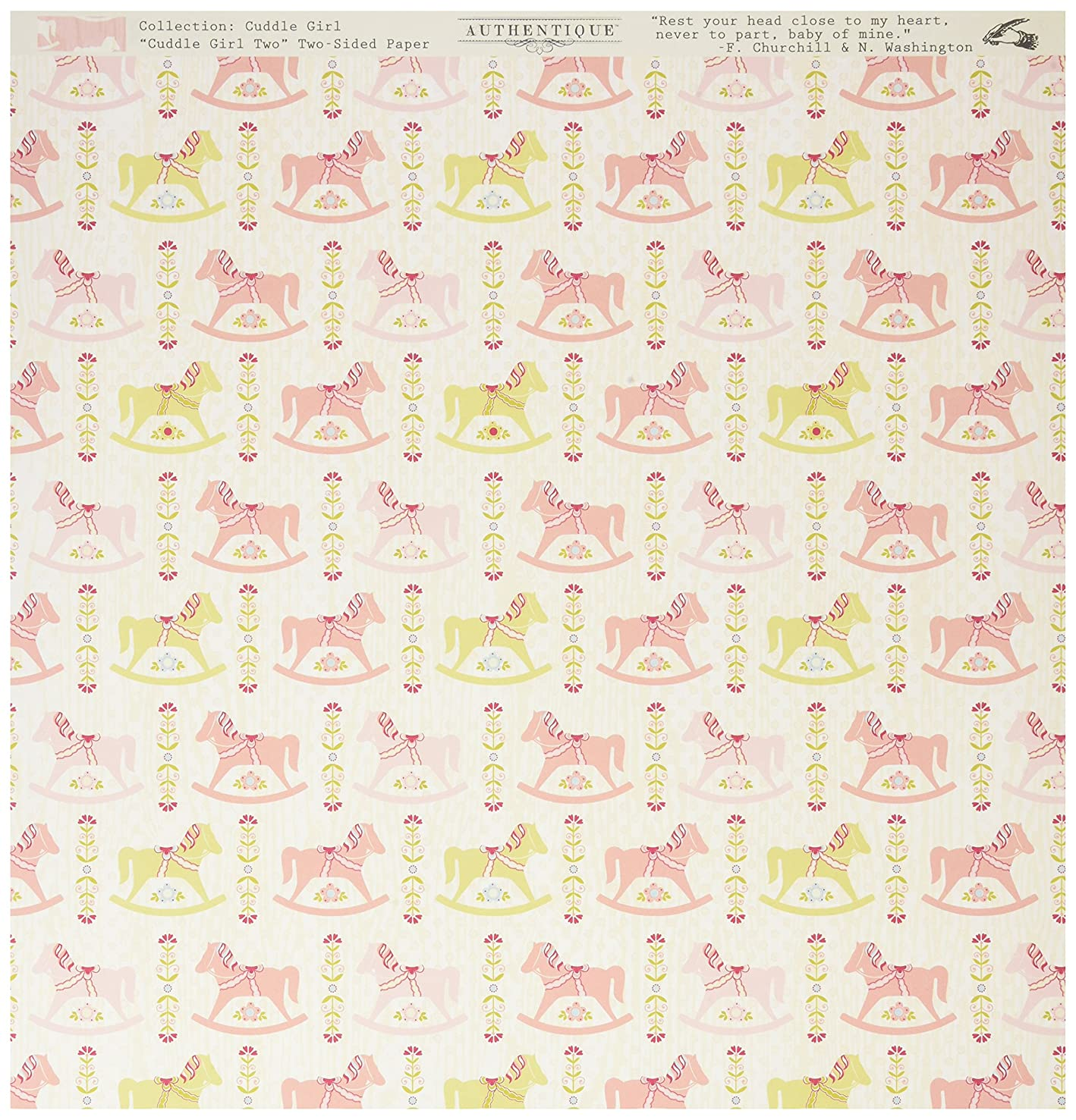 Authentique Paper GCD002 Cuddle Girl Double-Sided Cardstock No 2 Multicolor Rocking Horse/Mini Pink (18 Sheets Per Pack), 12
