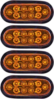 [ALL STAR TRUCK PARTS] Oval Sealed 10 LED AMBER Turn Signal and Parking Light Kit with Light, Grommet and Plug for Truck, ...
