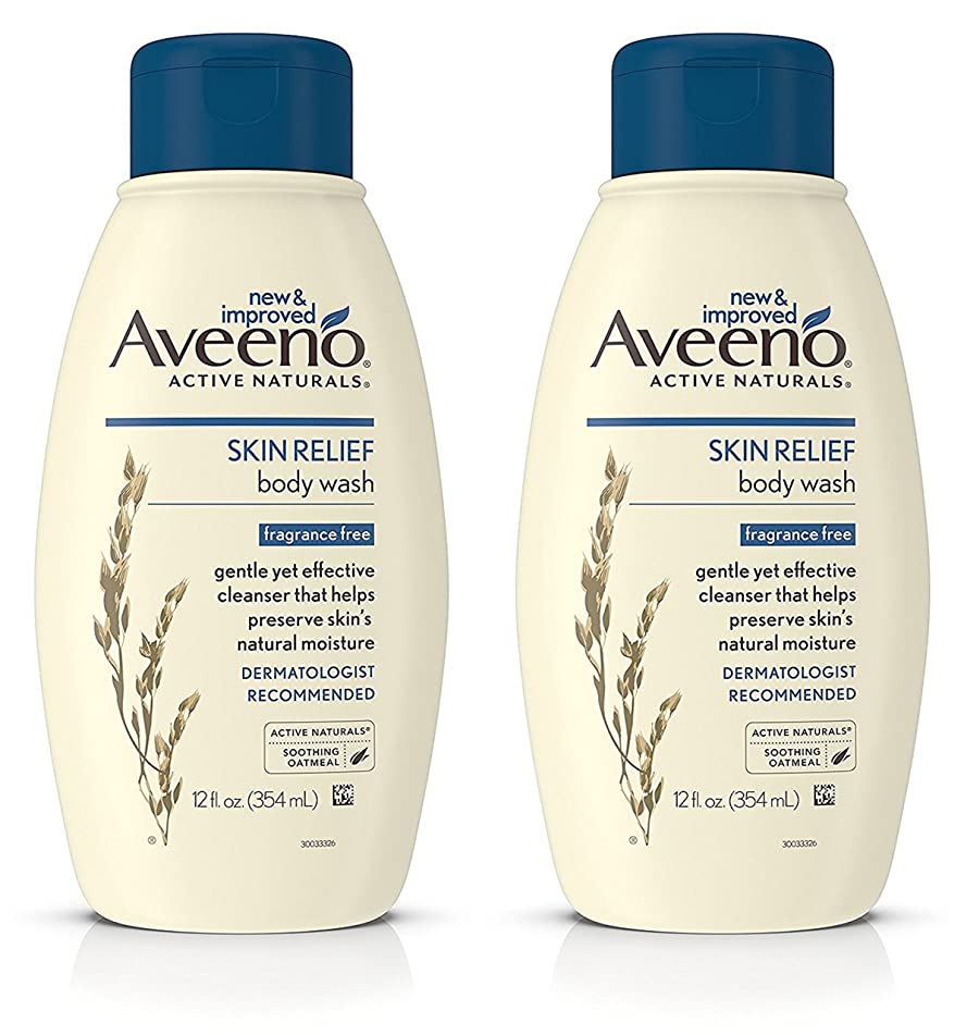 Aveeno Active Naturals - Skin Relief Body Wash - Fragrance Free - Net Wt. 12 FL OZ (354 mL) Per Bottle - Pack of 2 Bottles
