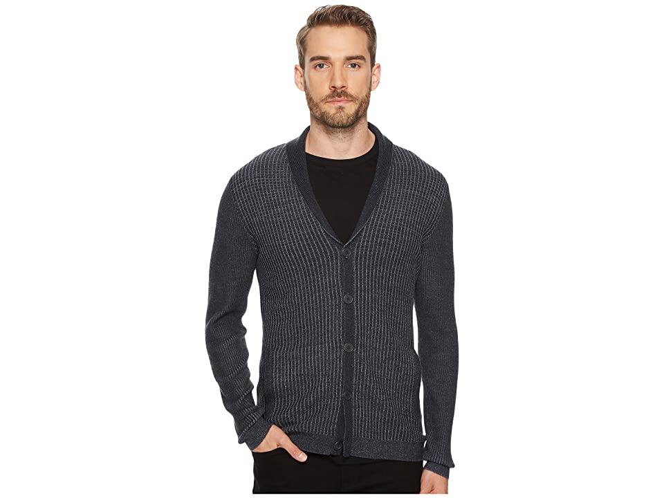 John Varvatos Star U.S.A. Waffle Knit Shawl Collar Cardigan (Charcoal Heather) Men