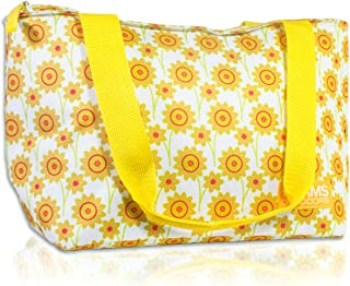 RMS Cooler Tote and Lunch Bag - Insulated Soft Cooler Bag for Everyday Activities - Ideal for Outdoors, Camping or Games - Stylish Floral Design for Women (Small, Yellow Flower)