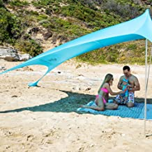 SUN NINJA Pop Up Beach Tent Sun Shelter with Sand Shovel, Ground Pegs,and Stability Poles, Outdoor Shade for Camping Trips, Fishing, Backyard Fun or Picnics (10X10 FT 2 Pole, Turquoise)