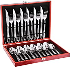 Avalon 24-Piece Silverware Set with Storage Chest Box, High Grade 18/10 Stainless Steel Flatware Set Service for 6, Premium Mirror Polished Utensil Set, Ideal Cutlery Set for Gift