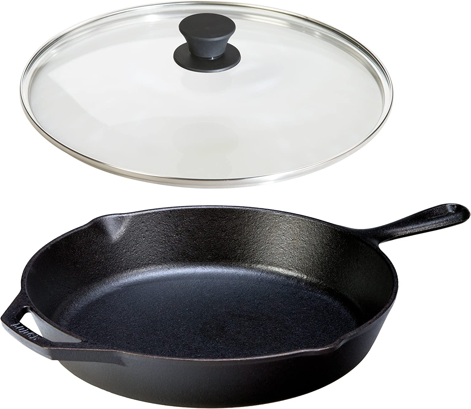 Lodge Seasoned Cast Iron Skillet w Tempered Glass Lid (12 Inch) - Medium Cast Iron Frying Pan With Lid Set
