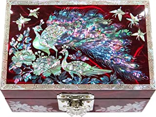 MADDesign Jewelry Watch Box Ring Organizer Hand Made Mother of Pearl Sea Shell Inlay Mirror Lid Peacock Red