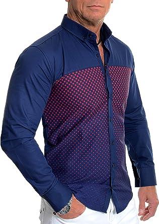 Hombre Camisa Casual Azul Marino Patrón Rojo a Cuadros algodón Manga Larga